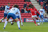 Charlton Athletic midfielder Joe Aribo (17) shoots at goal during the EFL Sky Bet League 1 match between Charlton Athletic and Rochdale at The Valley, London, England on 4 May 2019.