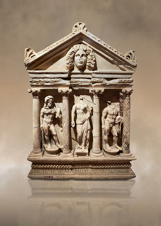 """Roman Herakles (Hercules)  relief sculptured sarcophagus, 2nd century AD, Perge, inv 928. it is from the group of tombs classified as. """"Columned Sarcophagi of Asia Minor"""".  Antalya Archaeology Museum, Turkey. Against a warm art background. ..<br /> <br /> If you prefer to buy from our ALAMY STOCK LIBRARY page at https://www.alamy.com/portfolio/paul-williams-funkystock/greco-roman-sculptures.html . Type -    Antalya    - into LOWER SEARCH WITHIN GALLERY box - Refine search by adding a subject, place, background colour, etc.<br /> <br /> Visit our ROMAN WORLD PHOTO COLLECTIONS for more photos to download or buy as wall art prints https://funkystock.photoshelter.com/gallery-collection/The-Romans-Art-Artefacts-Antiquities-Historic-Sites-Pictures-Images/C0000r2uLJJo9_s0"""
