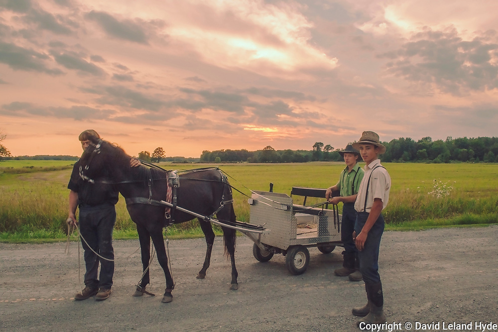 Amish Teenage Brothers and Horse Cart Near Holton, Michigan II, Stormy Sunset, Plains of Western Michigan, Michigan agriculture, Late Sun, Organic Farming