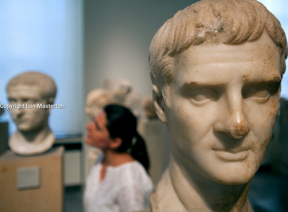 Marble busts on display at Altes Museum on Museumsinsel in Berlin Germany
