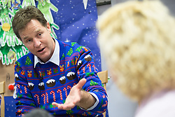 © Licensed to London News Pictures . 12/12/2014 . Sheffield , UK . EMBARGOED UNTIL 00:01 22 December 2014 . Special Christmas edition of radio show Call Clegg recorded at Sheffield Children's Hospital , with Deputy Prime Minister NICK CLEGG taking questions from children on the ward , hosted by Nick Ferrari . Photo credit : Joel Goodman/LNP
