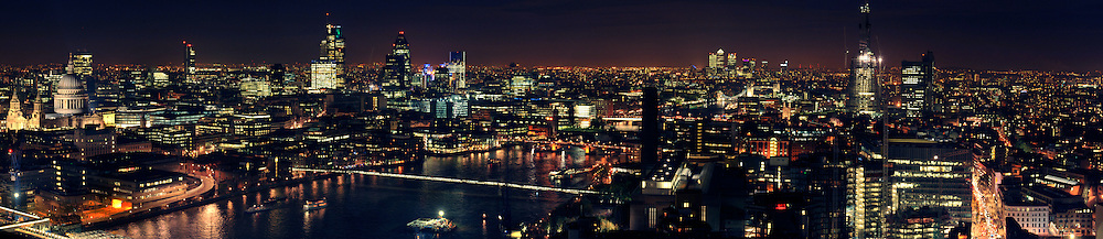 London Rooftops at night from St. Paul's to The Shard.  PLEASE NOTE: the quality of the original image is not reflected here - the high resolution file is far superior.  Available as a panoramic-sized print only.