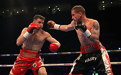 Anthony Fowler (left) and Ryan Thoms in acion during the Super-Welterweight Contest at the Echo Arena, Liverpool. PRESS ASSOCIATION Photo. Picture date: Saturday April 21, 2018. See PA story BOXING Liverpool. Photo credit should read: Peter Byrne/PA Wire.