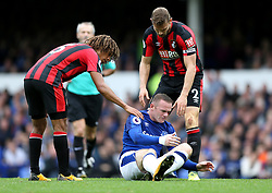 Everton's Wayne Rooney picks up a facial injury during the Premier League match at Goodison Park, Liverpool.