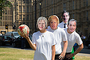 The People's Vote campaign organised a World Cup football event on College Green to highlight the shambolic state of Brexit on the day the EU Council meets for crunch talks on the 28th June 2018 in London in the  United Kingdom. Activists from the People's Vote campaign will be playing football on College Green dressed as Brexiters including Boris Johnson, Jacob Rees-Mogg, Nigel Farage and Theresa May in Westminster, London.