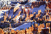 Afternoon light on rock formations in winter below Bryce Point, Bryce Canyon National Park, Utah