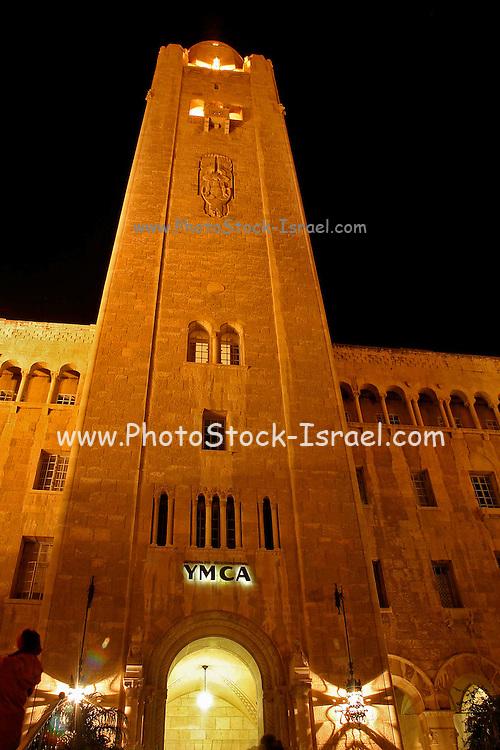 Night shot of the YMCA building in Jerusalem, Israel
