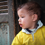A curious little boy from Dahab Island in Cairo has a look around while his mother is busy shopping.