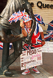© Licensed to London News Pictures . 17/07/2013 . London, UK . Royalist fan Terry Hutt,78, of Cambridge, shows his support outside the Lindo Wing at St Mary's Hospital in Paddington, London, to the Duchess of Cambridge, who is due to give birth her first baby at anytime from now. Photo credit : Isabel Infantes/LNP