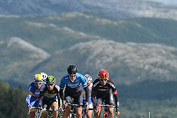 August 11, 2016 - Rognan, Norway - Norway's Krister Hagen from Team Coop-Oster Hus (Center) leads the breakaway of riders during the opening stage of the Arctic Race of Norway from Bodo to Rognan..On Thursday, 11 August 2016, in Rognan, Norway. (Credit Image: © Artur Widak/NurPhoto via ZUMA Press)