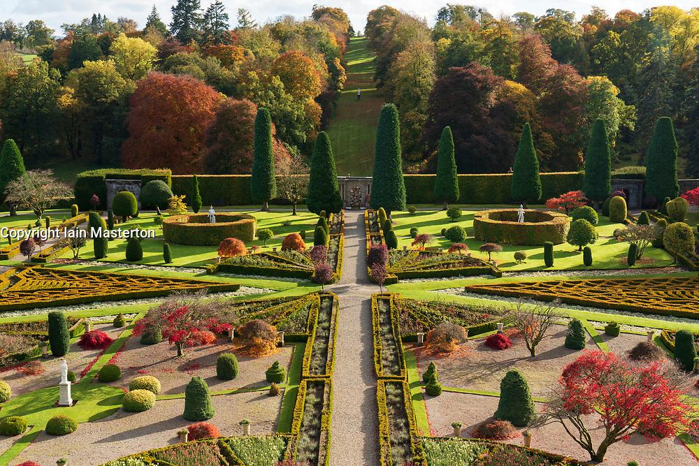 View of Drummond Castle Garden in the autumn in Crieff, Scotland, UK