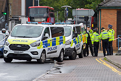 © Licensed to London News Pictures. 21/08/2021. London, UK. Police at the scene of a stabbing in Kingston. Police were called to a disturbance on Clarence Street at 03:45BST where they found a 22-year-old male with a stab injury to the chest, he was taken to hospital by London Ambulance Service where he was pronounced dead. An 18-year-old male was arrested at the scene on suspicion of murder.Photo credit: Peter Manning/LNP