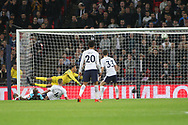 Andre Ayew of West Ham United (on ground) scores his team's second goal as Tottenham goalkeeper Michel Vorm watches as the ball goes into the back of the net .. EFL Carabao Cup, 4th round match, Tottenham Hotspur v West Ham United at Wembley Stadium in London on Wdnesday 25th October 2017.<br /> pic by Steffan Bowen, Andrew Orchard sports photography.