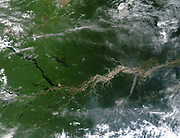 True-colour satellite image of the River Amazon, down which flows one fifth of river water entering Earth's oceans. Credit: NASA. South America Science Geography