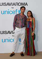 Marco Missoni, Paola Migliorini arriving at a photocall for the Unicef Summer Gala Presented by Luisaviaroma at Villa Violina on August 10, 2018 in Porto Cervo, Italy. Photo by Alessandro Tocco/ABACAPRESS.COM