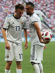 MOSCOW, July 1, 2018  Russia's Alexander Samedov (R) talks with Aleksandr Golovin during the 2018 FIFA World Cup round of 16 match between Spain and Russia in Moscow, Russia, July 1, 2018. Russia won 5-4 (4-3 in penalty shootout) and advanced to the quarter-final. (Credit Image: © Yang Lei/Xinhua via ZUMA Wire)