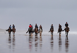 © Licensed to London News Pictures. <br /> 01/01/2017. <br /> Saltburn by the Sea, UK.  <br /> <br /> Riders and their horses enjoy a morning ride out along the beach on New Year's Day at Saltburn beach.<br /> <br /> <br /> <br /> Photo credit: Ian Forsyth/LNP