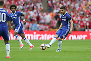 Chelsea's Cesc Fàbregas(4) passes the ball forward during the The FA Cup final match between Arsenal and Chelsea at Wembley Stadium, London, England on 27 May 2017. Photo by Shane Healey.