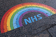 As the national coronavirus lockdown three continues an NHS rainbow thank you message for all the staff at the Royal London Hospital in Whitechapel, which has become one of the main hospitals in London dealing with Covid-19 patients at the heart of the NHS battle against the pandemic on 29th January 2021 in London, United Kingdom.
