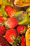 Fresh fruit salad with strawberries, Kiwi and passion fruit