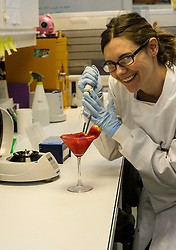Pictured: Jenny Kaden, Senior Laboratory Technician.<br /> Royal Zoological Society of Scotland  (RZSS) scientist Jennifer Kaden demonstrated how to extract DNA from a strawberry daiquiri cocktail to promote the visitor event running in June<br /> <br /> Ger Harley | EEm 19 April 2016