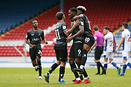 1-1, goal celebration by Fejiri Okenabirhie of Doncaster Rovers during the EFL Cup match between Blackburn Rovers and Doncaster Rovers at Ewood Park, Blackburn, England on 29 August 2020.