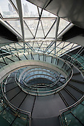 The top of the spiral walkway descending the entire height of City Hall, home to the Greater London Authority (GLA) on the More London development site, London. UK.  (photo by Andrew Aitchison / In pictures via Getty Images)