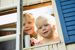 Little boy and girl looking out of tree house