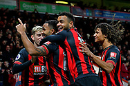 Goal - Callum Wilson (13) of AFC Bournemouth celebrates scoring a goal to give a 1-0 lead to the home team with David Brooks (20) of AFC Bournemouth, Joshua King (17) of AFC Bournemouth and Nathan Ake (5) of AFC Bournemouth during the Premier League match between Bournemouth and Huddersfield Town at the Vitality Stadium, Bournemouth, England on 4 December 2018.