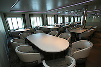 Celebrity Solstice, the most widely heralded ship to enter the cruise industry this year, sets sail from Papenburg Germany, where she was built.  This is the first of 5 Solstice class ships Celebrity Cruises will launch between now and 2012 and the first cruise ship with an authentic grass lawn on its top deck...Grand Epernay dining room.