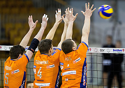 Nathan Roberts of ACH, Jan Kozamernik of ACH and Andrej Flajs of ACH during volleyball match between ACH Volley and OK Calcit Volleyball in 10th Round of Slovenian National Championship 2014/15, on March 11, 2015 in Arena Tivoli, Ljubljana, Slovenia. Photo by Vid Ponikvar / Sportida