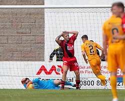 Annan Athletic's Aidan Smith misses a chance. Livingston 1 v 0 Annan Athletic, Scottish League Cup Group F, played 21/7/2018 at Prestonfield, Linlithgow.
