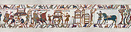11th Century Medieval Bayeux Tapestry - Scene 46 - A watchman informs William of Harold armies movements. Scene 47 - Williams men burn down a house. Scene 47 - William prepares to meet Harold .<br /> <br /> If you prefer you can also buy from our ALAMY PHOTO LIBRARY  Collection visit : https://www.alamy.com/portfolio/paul-williams-funkystock/bayeux-tapestry-medieval-art.html  if you know the scene number you want enter BXY followed bt the scene no into the SEARCH WITHIN GALLERY box  i.e BYX 22 for scene 22)<br /> <br />  Visit our MEDIEVAL ART PHOTO COLLECTIONS for more   photos  to download or buy as prints https://funkystock.photoshelter.com/gallery-collection/Medieval-Middle-Ages-Art-Artefacts-Antiquities-Pictures-Images-of/C0000YpKXiAHnG2k