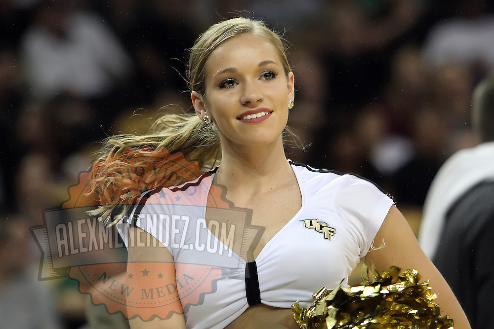 A dancer performs during a Conference USA NCAA basketball game between the Marshall Thundering Herd and the Central Florida Knights at the UCF Arena on January 5, 2011 in Orlando, Florida. Central Florida won the game 65-58 and extended their record to 14-0.  (AP Photo/Alex Menendez)