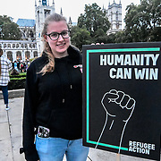 Parliament Square, London, 2021-10-20. Refugee campaigners gather on Parliament Square, London to oppose The Nationality and Borders Bill which they say will make it harder for asylum seekers to settle in the UK