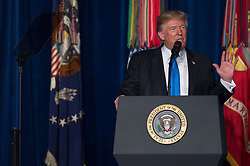 August 21, 2017 - Arlington, VA, United States of America - U.S. President Donald Trump during a press conference following his address to the nation on his strategy for the Afghan War at Fort Myer August 21, 2017 in Arlington, Virginia. (Credit Image: © Amber I. Smith/Planet Pix via ZUMA Wire)