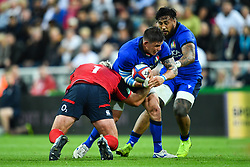 Oliviero Fabiani of Italy is tackled by Joe Marler of England<br /> <br /> Photographer Craig Thomas/Replay Images<br /> <br /> Quilter International - England v Italy - Friday 6th September 2019 - St James' Park - Newcastle<br /> <br /> World Copyright © Replay Images . All rights reserved. info@replayimages.co.uk - http://replayimages.co.uk