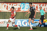 Fleetwood Town's forward Wes Burns (7) crosses the ball during the EFL Sky Bet League 1 match between Fleetwood Town and Accrington Stanley at the Highbury Stadium, Fleetwood, England on 27 February 2021.