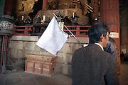 tourist guide inside Todai-ji, The Great Buddha, temple in Nara Japan