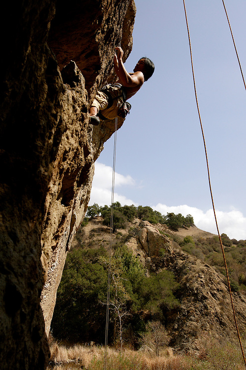 LOS ANGELES, CA, October 2, 2007: Rock climbers scale a wall on a Fall day in September in the Santa Monica Mountains. The climbing site is located inside Malibu Creek State Park. (Photo by Todd Bigelow/Aurora)
