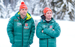 02.01.2018, Seefeld, AUT, FIS Weltcup Ski Sprung, Vierschanzentournee, Innsbruck, im Bild Cheftrainer Werner Schuster (GER), Co Trainer Roar Ljoekelsoey (GER) während eines Medientermins des DSV // Austrian Headcoach Werner Schuster of Germany and Norways Assistent Coach Roar Ljoekelsoey of Germany during a Media Event of the German Skijumping Team before the 3rd Stage Insbruck of the Four Hills Tournament of FIS Ski Jumping World Cup at Seefeld, Austria on 2018/01/02. EXPA Pictures © 2018, PhotoCredit: EXPA/ JFK