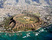 An image of Diamond Head Crater from the air. Oahu, Hawaii.