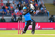 Tom Fell of Worcestershire attacks the ball during the Vitality T20 Finals Day Semi Final 2018 match between Worcestershire Rapids and Lancashire Lightning at Edgbaston, Birmingham, United Kingdom on 15 September 2018.