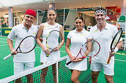 EDITORIAL USE ONLY<br /> (Left to right) Jamie Laing from Made In Chelsea and Great Britain&Otilde;s Johanna Konta play tennis against The Only Way is Essex star Jessica Wright and former Wimbledon champion Pat Cash to celebrate the release of new tennis movie &Ocirc;Battle of the Sexes&Otilde;, in partnership with cereal bar Nature Valley, at Westfield London in Shepherd&Otilde;s Bush.