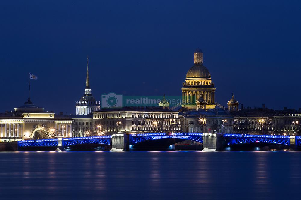 April 2, 2017 - Saint Petersburg, Russia - The Dvortsovy (Palace) bridge is illuminated in blue to mark World Autism Awareness Day in St.Petersburg, Russia, Sunday, April 2, 2017. (Credit Image: © Igor Russak/NurPhoto via ZUMA Press)