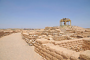 Israel, Negev, Tel Be'er Sheva believed to be the remains of the biblical town of Be'er Sheva. Observation tower