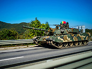 PAJU, GYEONGGI, SOUTH KOREA:  A South Korean K1 tank going south from the DMZ on the highway on the edge of the DMZ. Tourism to the Korean DeMilitarized Zone (DMZ) has increased as the pace of talks between South Korea, North Korea and the United States has increased. Some tours are sold out days in advance.     PHOTO BY JACK KURTZ