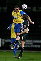 Photo: Steve Bond.<br />Notts County v Hereford United. Coca Cola League 2. 02/10/2007. Steve Guinan heads for goal
