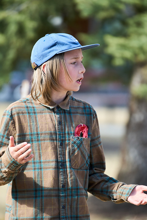 Lewis Maddocks as Claudio.<br /> <br /> Yukon Montessori School performed Shakespeare's Much Ado About Nothing in Helicopter Park on May 19 in Whitehorse, Yukon Canada.