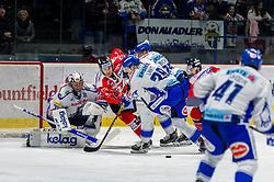 06.12.2019, Ice Rink, Znojmo, CZE, EBEL, HC Orli Znojmo vs EC VSV, 25. Runde, im Bild v.l. Brandon Maxwell (EC Panaceo VSV) Petr Mrázek (HC Orli Znojmo) Miika Lahti (EC Panaceo VSV) Stefan Bacher (EC Panaceo VSV) David Bartos (HC Orli Znojmo) // during the Erste Bank Eishockey League 25th round match between HC Orli Znojmo and EC VSV at the Ice Rink in Znojmo, Czechia on 2019/12/06. EXPA Pictures © 2019, PhotoCredit: EXPA/ Rostislav Pfeffer